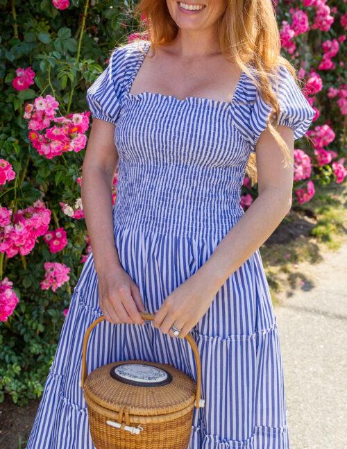 maxwell & geraldine kate smocked blue and white stripe dress