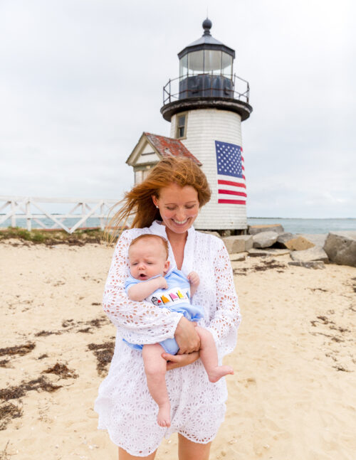sail to sable charlotte white eyelet dress and ann + reeves rainbow fleet bubble at brant point