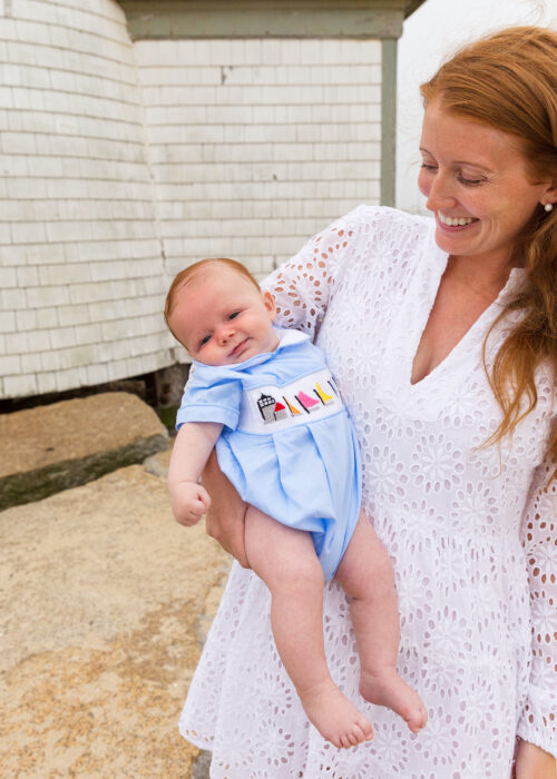sail to sable charlotte white eyelet dress and ann + reeves rainbow fleet bubble brant point