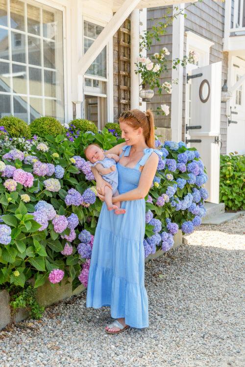 xirena loraine dress in cruise blue tie shoulder smocked dress on design darling