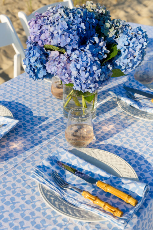 pottery barn bamboo flatware williams-sonoma vintage etched stemless glasses and julia amory big sky napkins