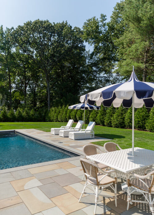 serena & lily eastport striped umbrella and outdoor riviera dining chairs in design darling backyard