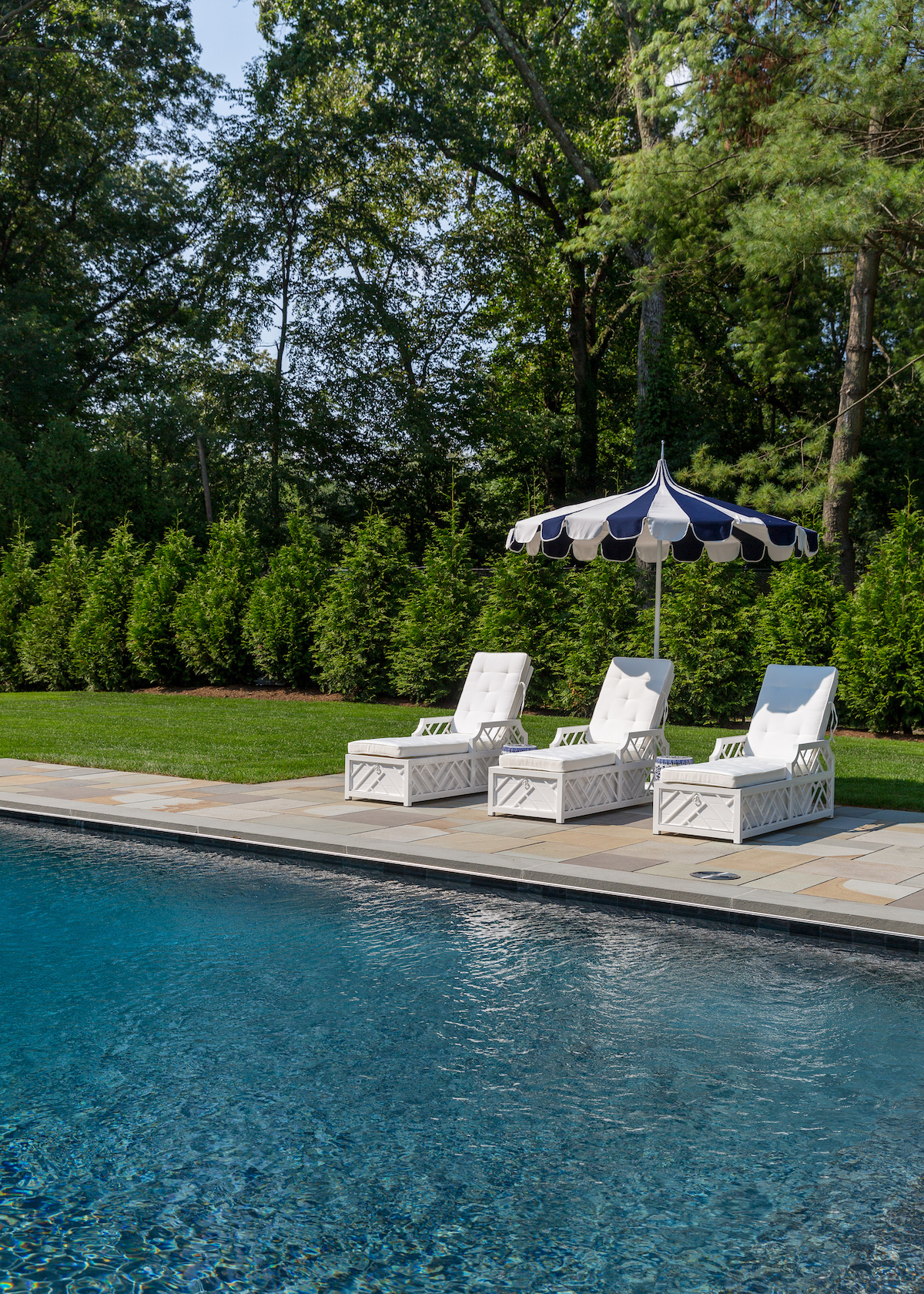 serena & lily eastport striped umbrella ballard designs miles redd bermuda chaise in design darling backyard