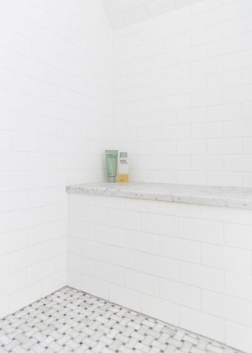 basketweave tile shower floor