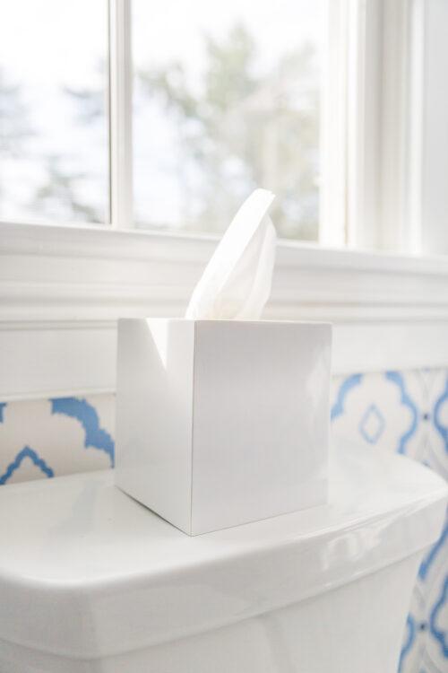 jonathan adler white lacquer tissue box cover