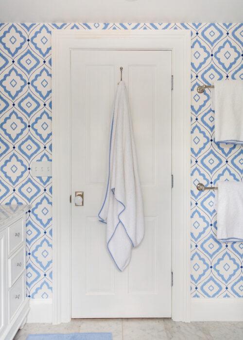 thibaut bungalow blue wallpaper in bathroom design darling