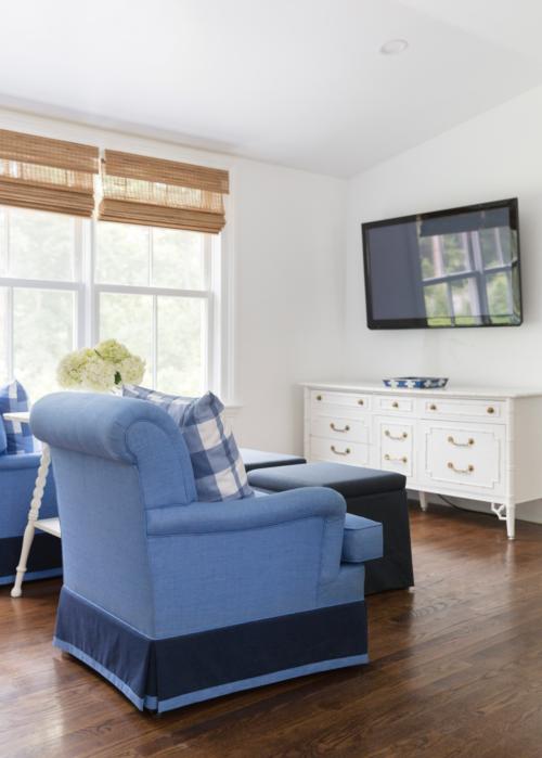 design darling loft woven blinds blue chairs white bamboo dresser
